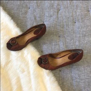 Frye maya peep toe brown leather sz.5.5 well loved
